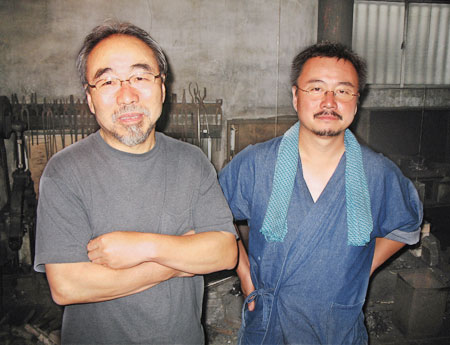 Yoshindo Yoshihara with Yoshikazu Yoshihara at their forge in 2006