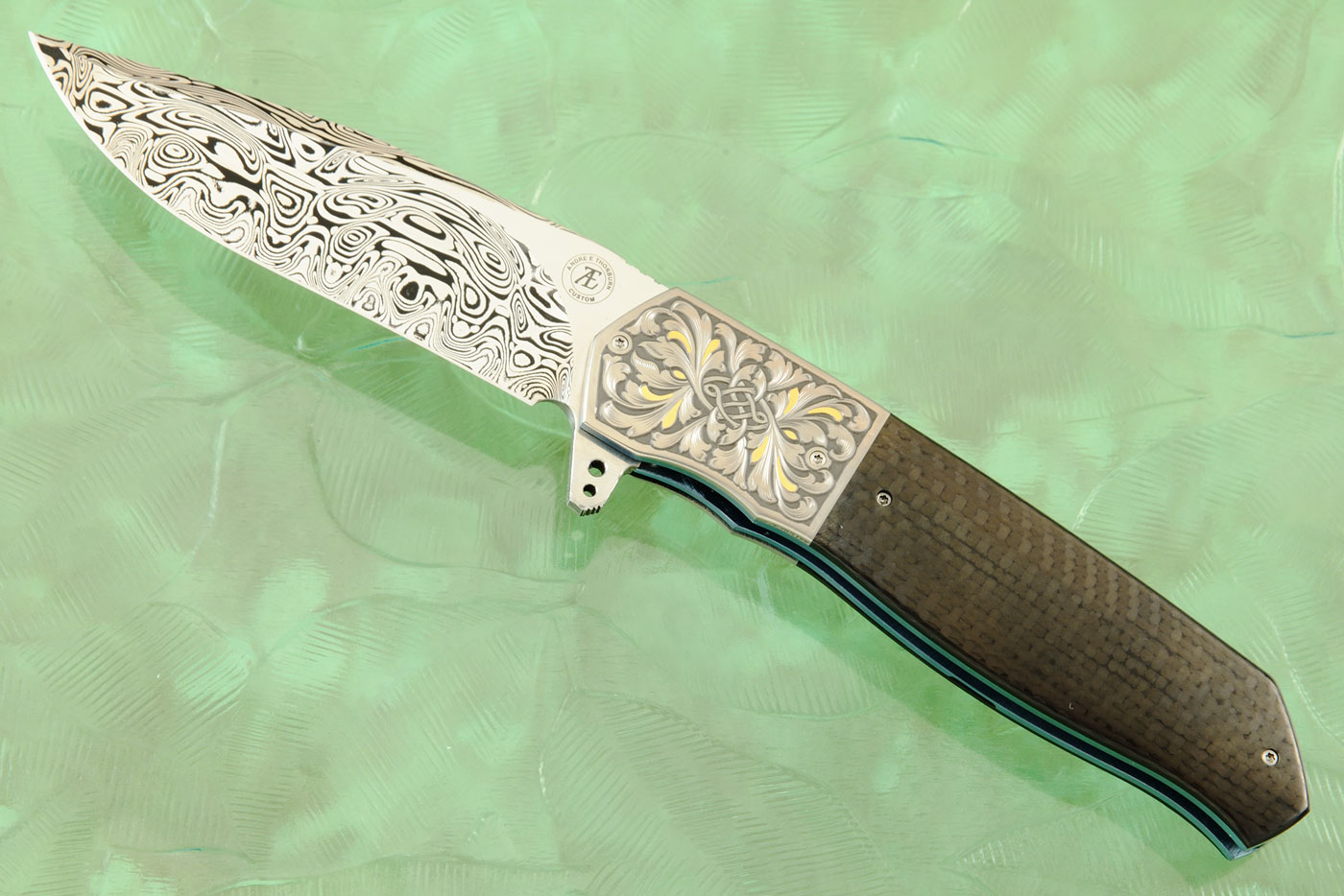 L36M Flipper with Carbon Fiber, Damascus, and Engraved Titanium with Gold Inlay (Ceramic IKBS)