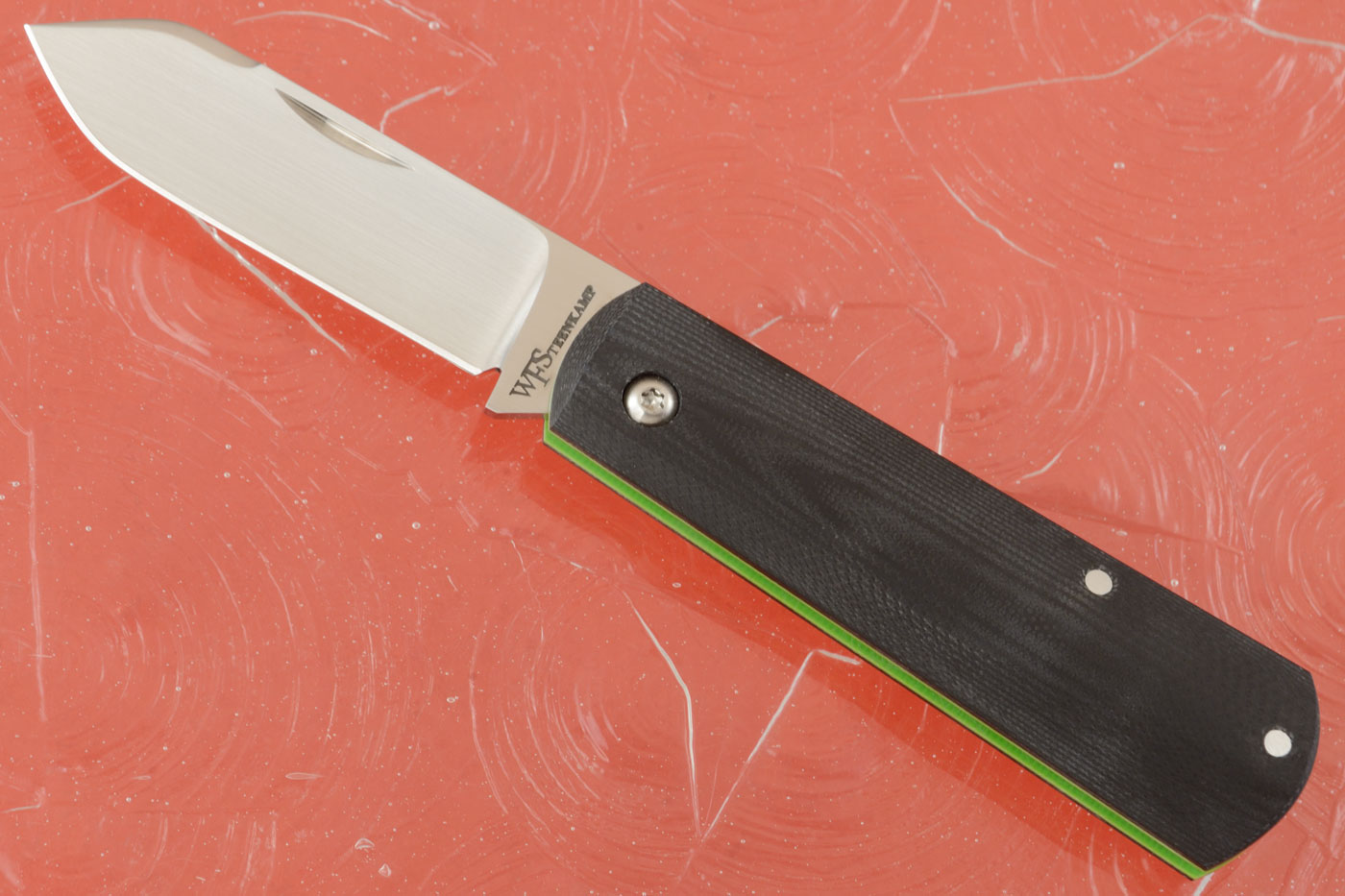 Barlow Friction Folder with Black and Lime Green G10
