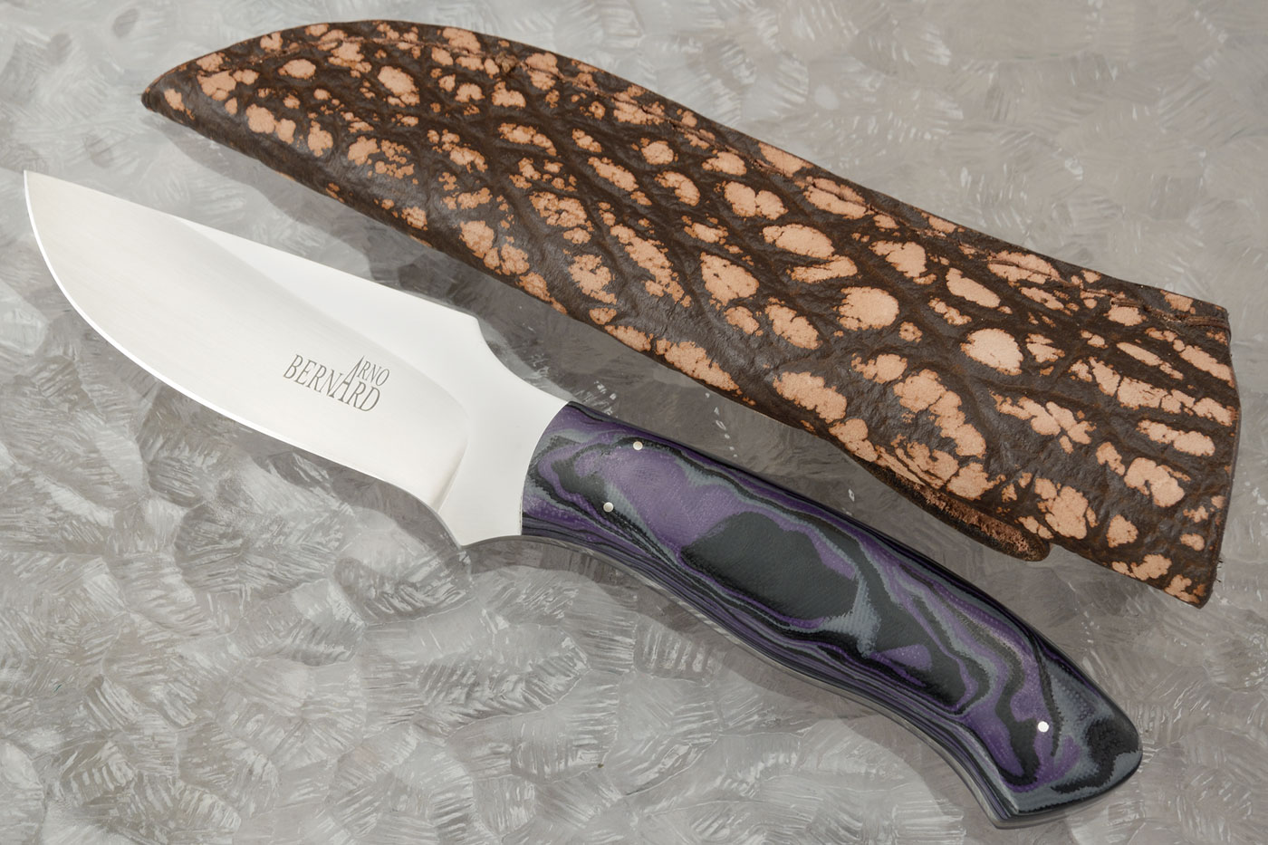 Raised Clip Point Skinner with Marbled G10
