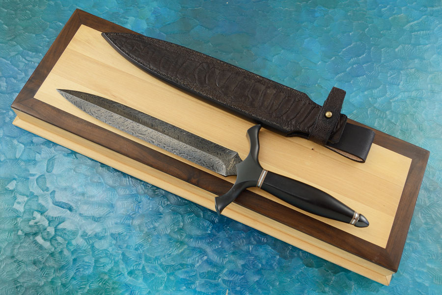 Damascus Dagger with Ebony