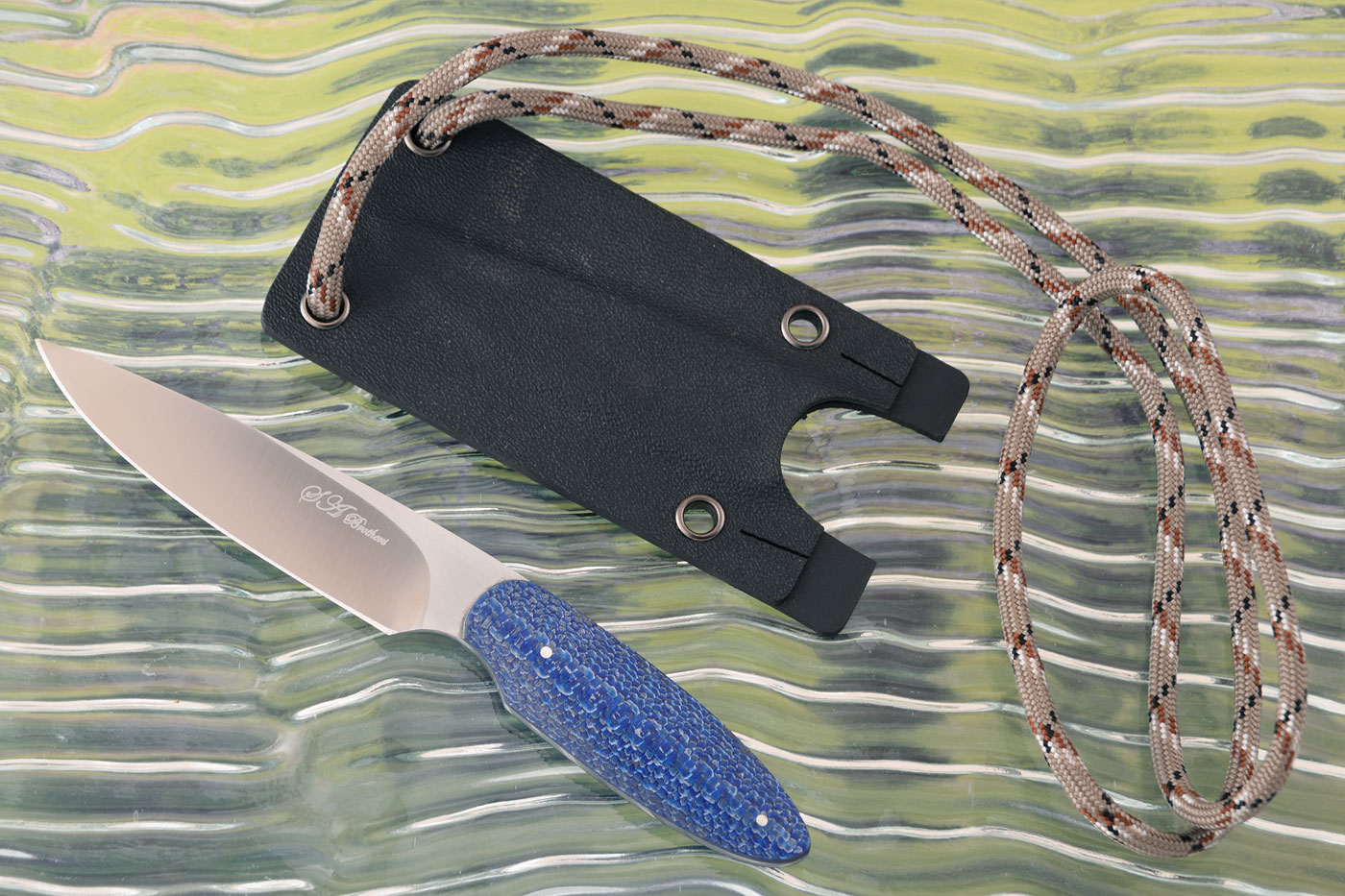 Neck Knife with Blue Twill