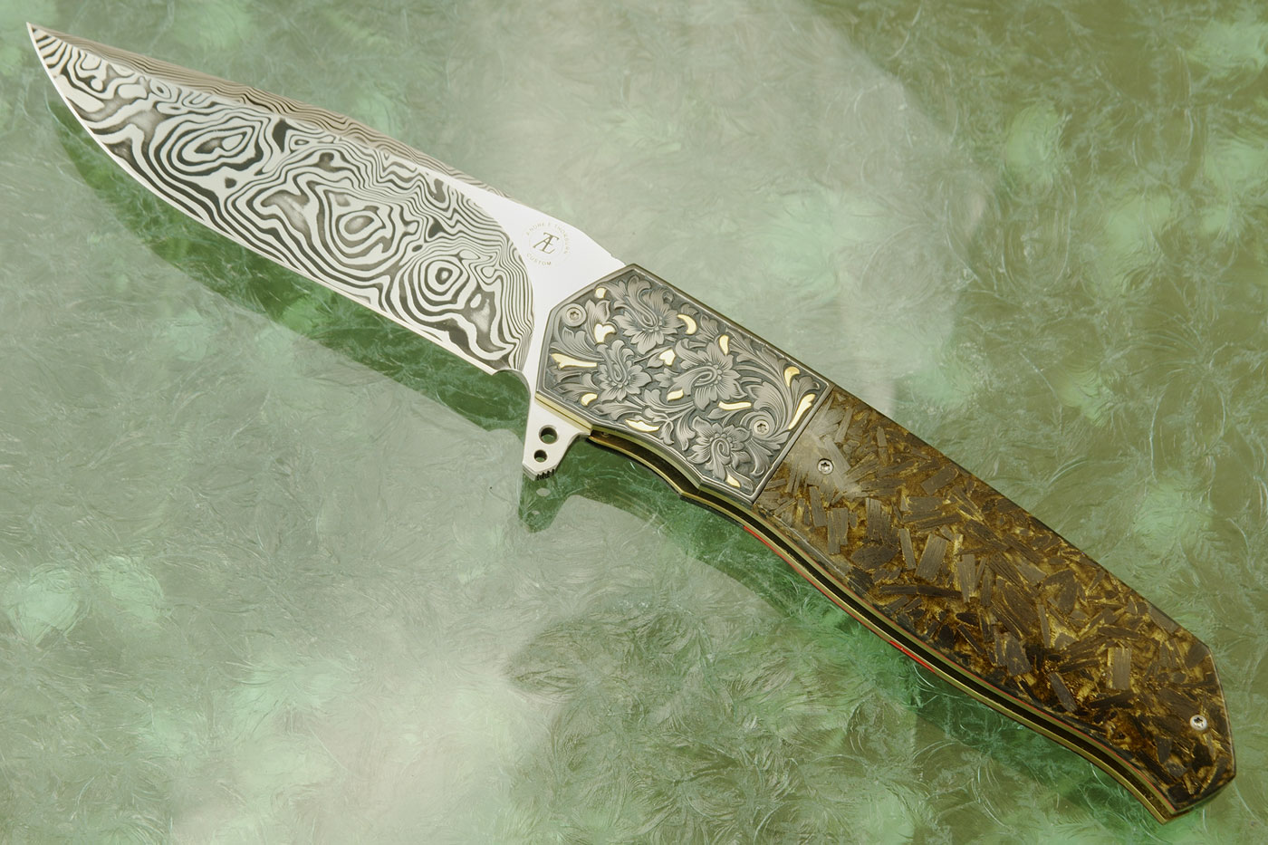 L36M Flipper with Damascus, Engraved Zirconium, Gold Inlay, and Goldleaf Shred Carbon Fiber (Ceramic IKBS)