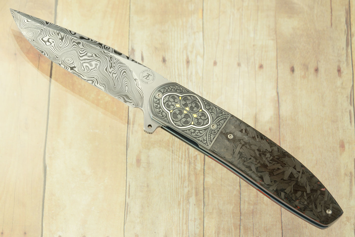 L28 Flipper with Shred Carbon Fiber, Damascus, and Engraved Zirconium with Gold and Silver Inlays (Ceramic IKBS)