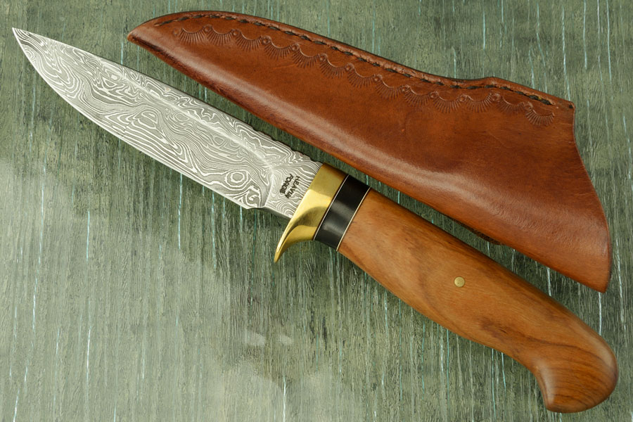 Damascus Drop Point Hunter with Wild Olive