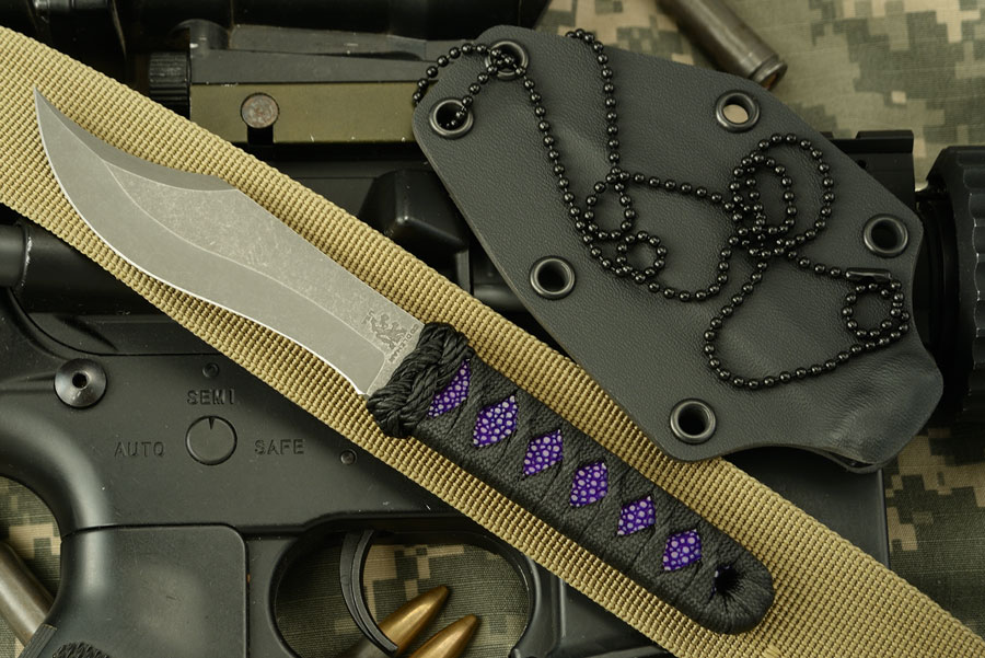 Recurve Bowie Neck Knife with Rayskin Wrap