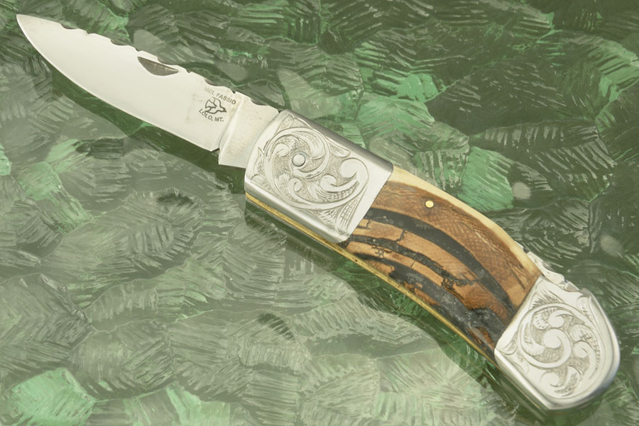 Engraved Backlock Folder with Crosscut Mammoth Ivory