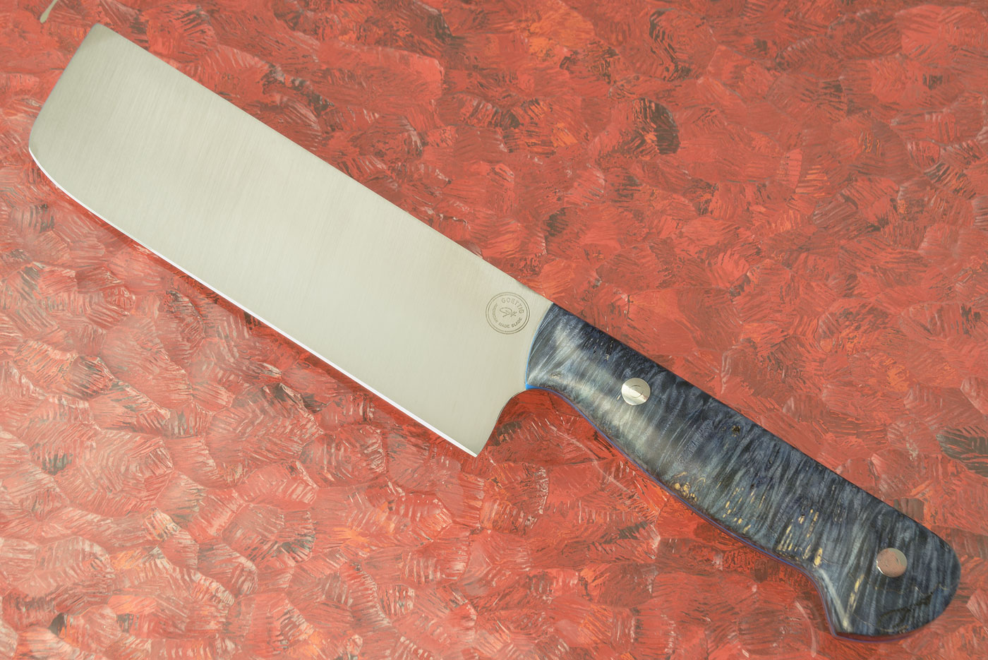 Chef's Knife - Nakiri (6-1/3 in.) with Blue Box Elder Burl