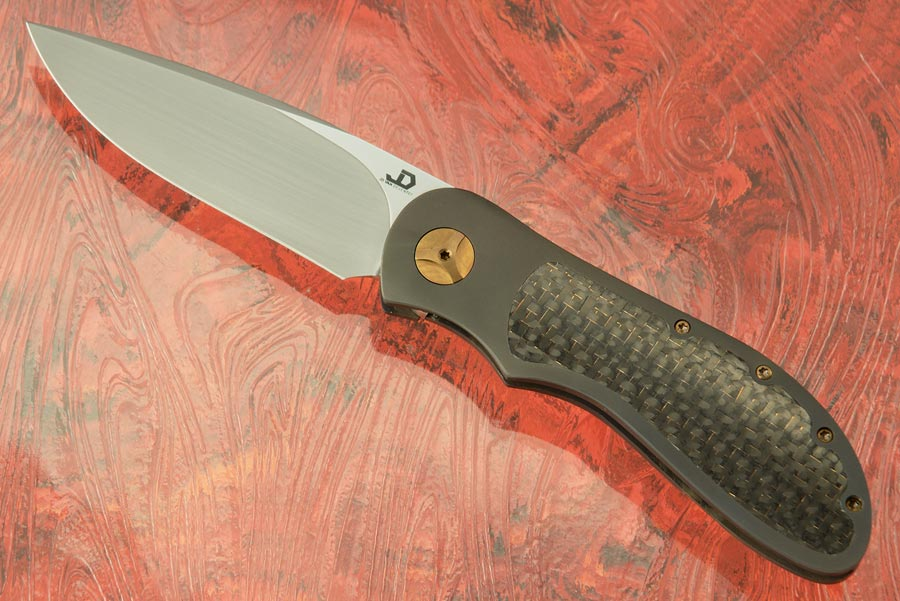 EDC Front Flipper Bolster Lock with Lightning Strike Carbon Fiber Inlays
