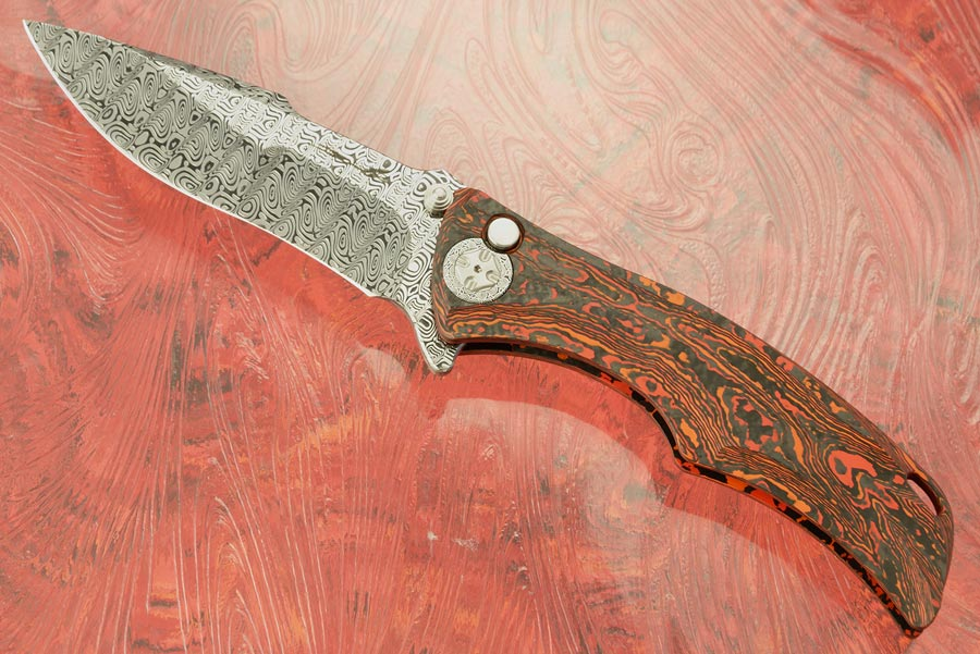 Tighe Down Flipper with Integral LavaFlow FatCarbon and Damasteel
