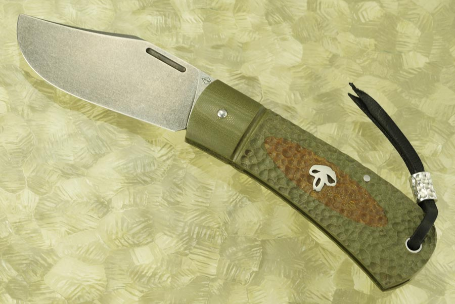 Bad Guy Slipjoint Folder with Green and Tan Jigged G10