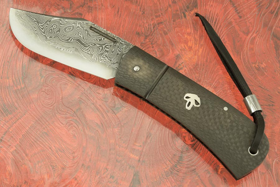 Bad Guy Slipjoint Folder with Damascus San Mai and Carbon Fiber