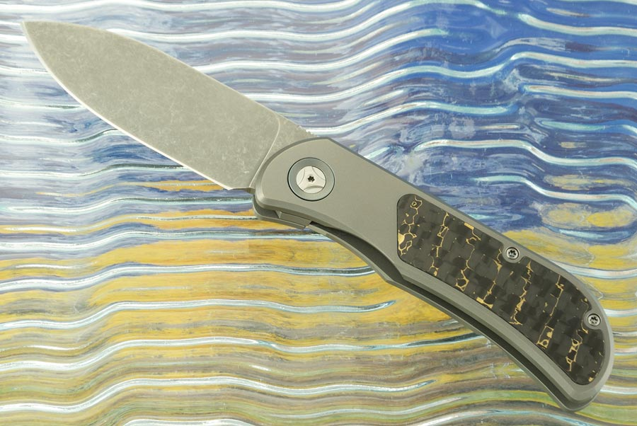 EXK SFL Framelock Front Flipper with Snakeskin Carbon Fiber - Stonewash, Drop Point