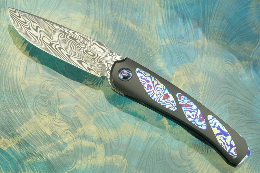 Boudicca Front Flipper - Tri-Pocket Timascus with Damascus (Ceramic IKBS)