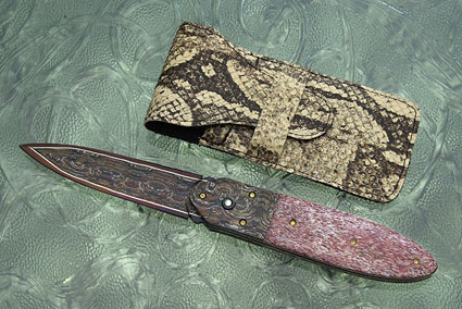 Button Lock Folding Dagger