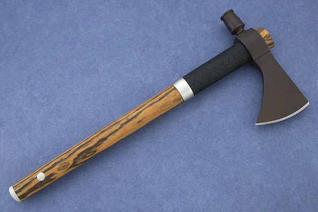 Hammer Pole Tomahawk with Bocote and Black Sinew Wrap