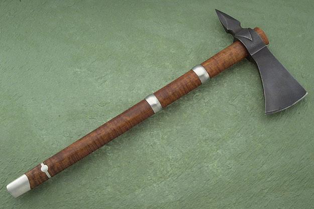 Curly Maple Carved Arrowhead Spike Tomahawk