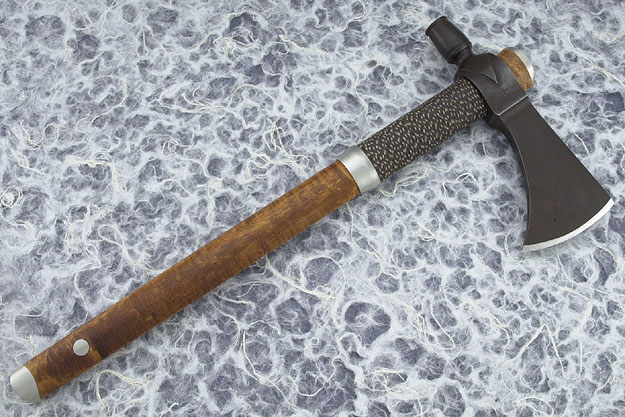 Round Hammer Pole Tomahawk with Curly Maple