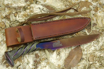 Hot Blued Railroad Spike Knife