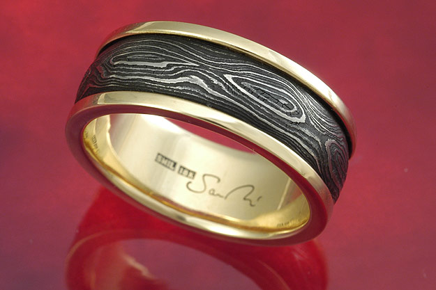 Pool and Eye Gold Band - US Size 7 1/4