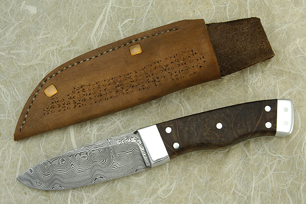 Damascus Drop Point Skinner