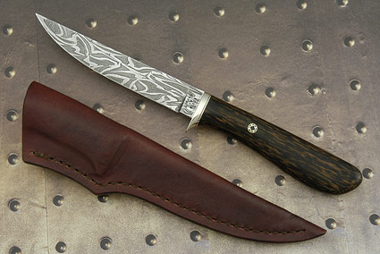 Flame Damascus Bird and Trout Knife