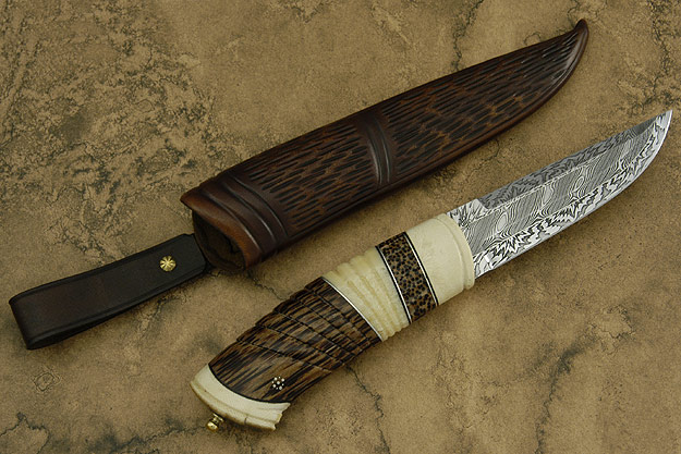 Palmwood Puukko with Fossil Mammoth and Walrus Ivories