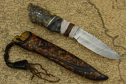 Puukko with Damascus and  Birch Burl