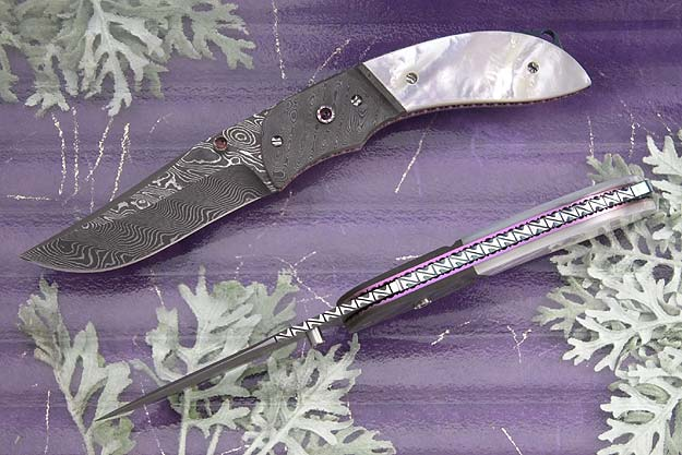 Damascus Folder with Mother of Pearl Scales