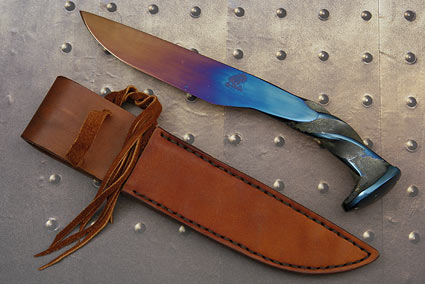 Hot Blued Railroad Spike Knife