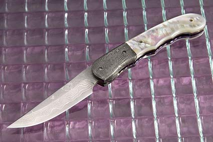 Modern Mother of Pearl Knickmeyer M.S. Damascus Bolster