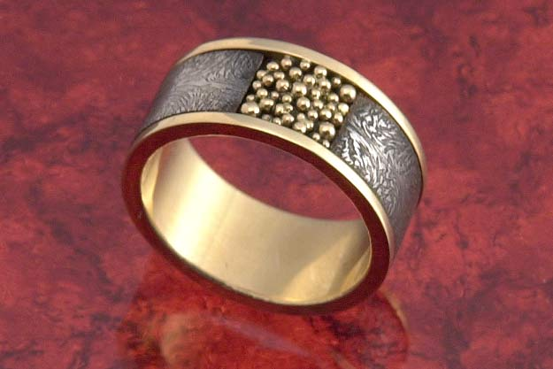 Gold Pearls Damascus Band - US Size 9