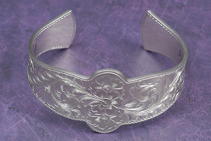 Western Rosettes and Scroll Silver Cuff