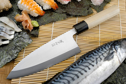 Hon Kasumi Left-Handed Deba Hocho - 180mm (7 1/8 in.)