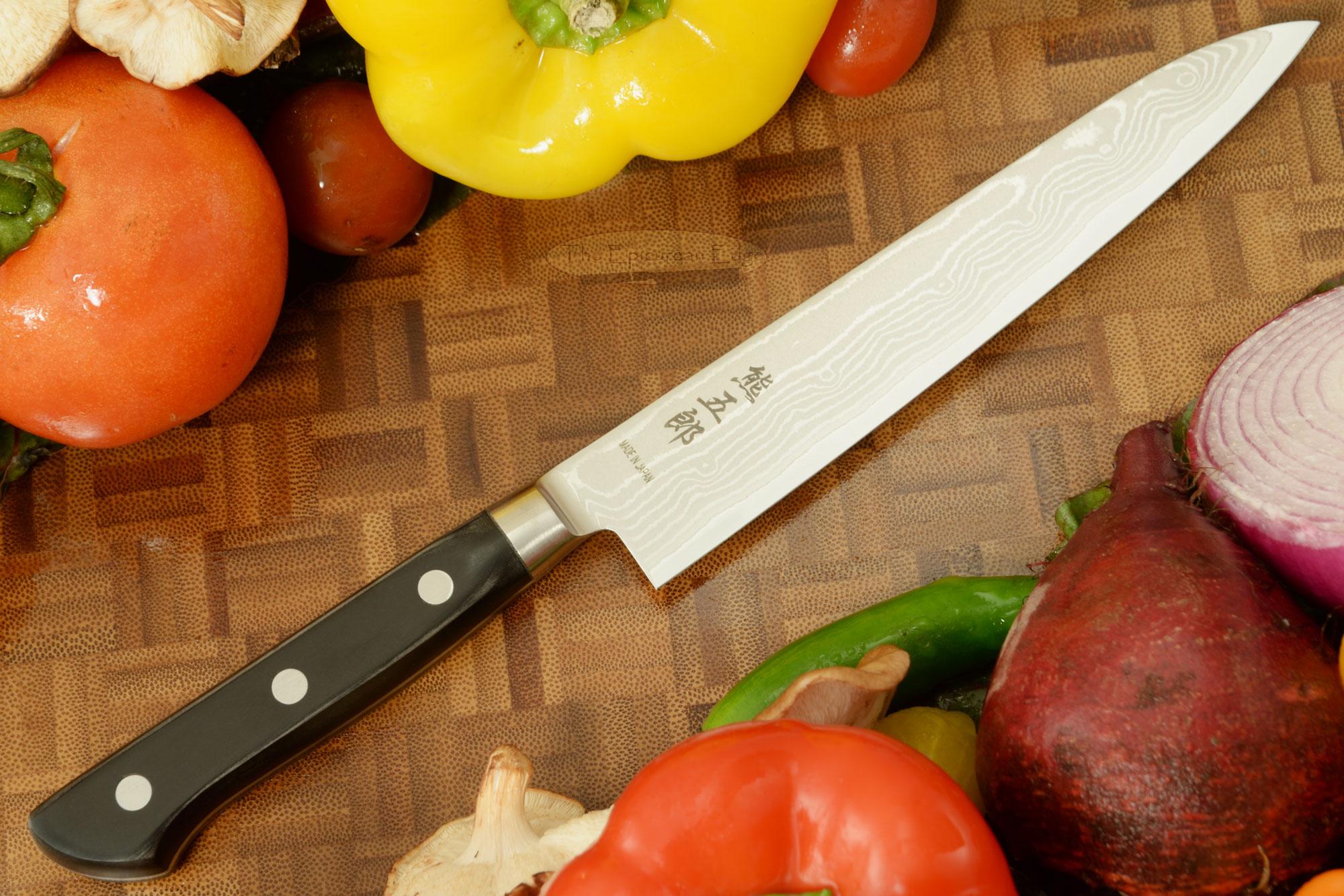 Kumagoro Suminagashi, San Mai Damascus Utility Knife - Fruit Knife - 6 in. (150mm)