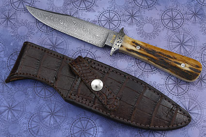 Engraved Damascus Bowie