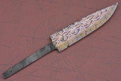 Multi-colored Mosaic Damascus Blade (4 3/4 in)