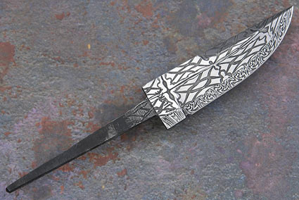 Radial Diamond Mosaic Damascus Blade (3 1/3