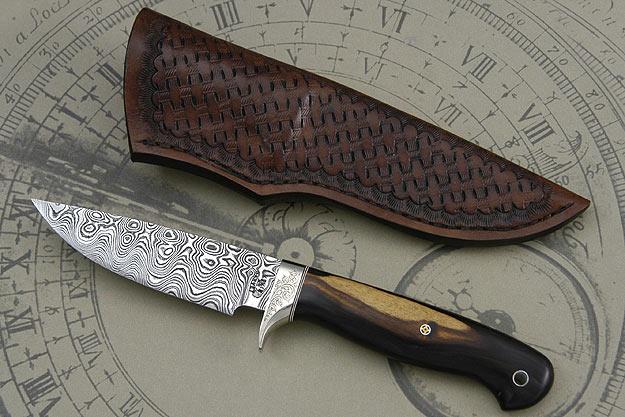 Blackwood and Damascus Hunting Knife