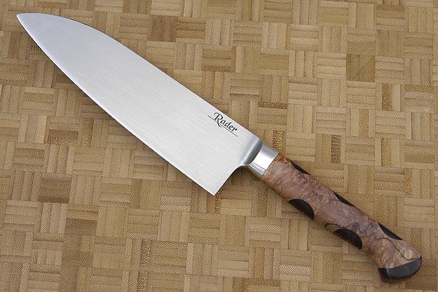 Santoku with Spalted Maple Burl and Curly Koa