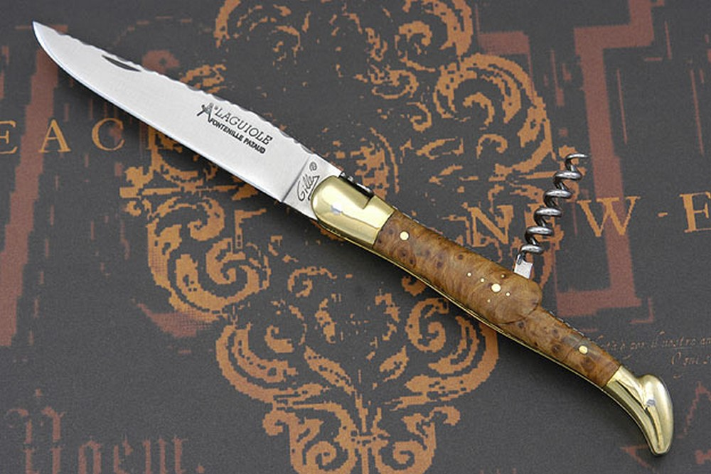 Laguiole Guilloché Picnic Knife with Corkscrew, Thuya Burl and Brass