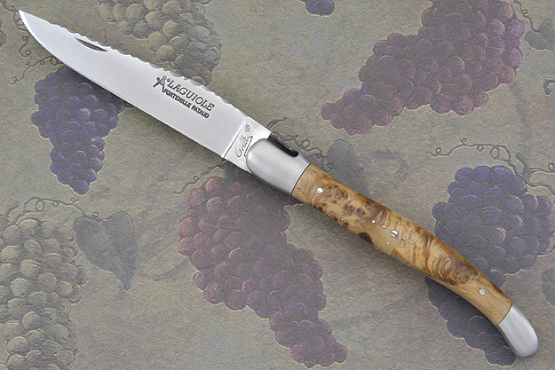 Laguiole Guilloché Picnic Knife, Juniper Burl