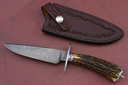 Sambar Stag Damascus Gent's Bowie