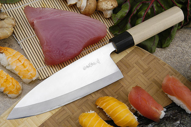 Tadafusa Shirogami Professional Left-Handed Deba - 7 1/8 in. (180mm)