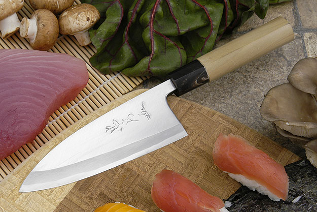 Tadafusa Aogami Professional Left-Handed Deba (Ajikiri) - 5 1/3 in. (135mm)