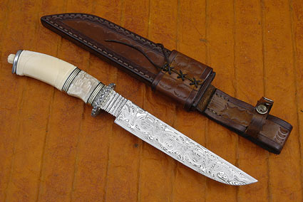 Musk Ox and Damascus Swedish Bowie