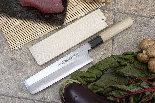 Hontan Seikon Dojo Professional Left-Handed Usuba Hocho - 180mm -- with Saya