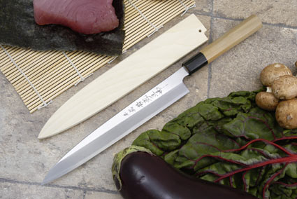 Hontan Seikon Dojo Professional Left-Handed Sashimi Hocho - 240mm -- with Saya