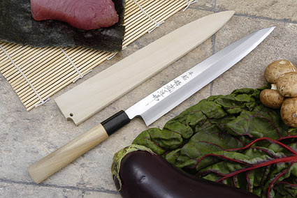 Hontan Seikon Dojo Professional Right-Handed Sashimi Hocho - 240mm -- with Saya