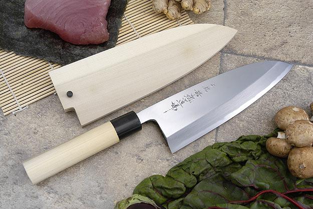 Hontan Seikon Dojo Professional Right-Handed Deba Hocho - 210mm -- with Saya